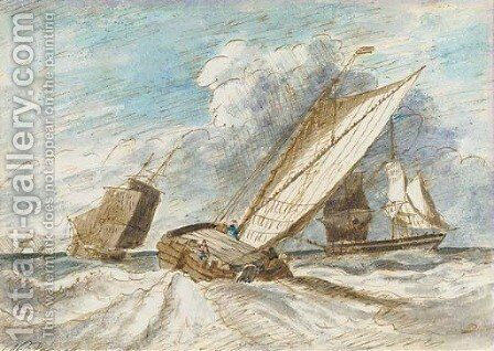 A trading barge heeling in the breeze by (after) Nicholas Pocock - Reproduction Oil Painting