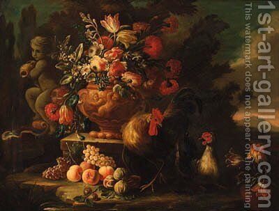 Flowers in an urn on a plinth by a fountain with chickens and fruit in a landscape by (after) Nicola Casissa - Reproduction Oil Painting