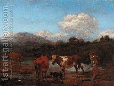 An Italianate landscape with herdsmen and cattle at a pool by (after) Nicolaes Berchem - Reproduction Oil Painting