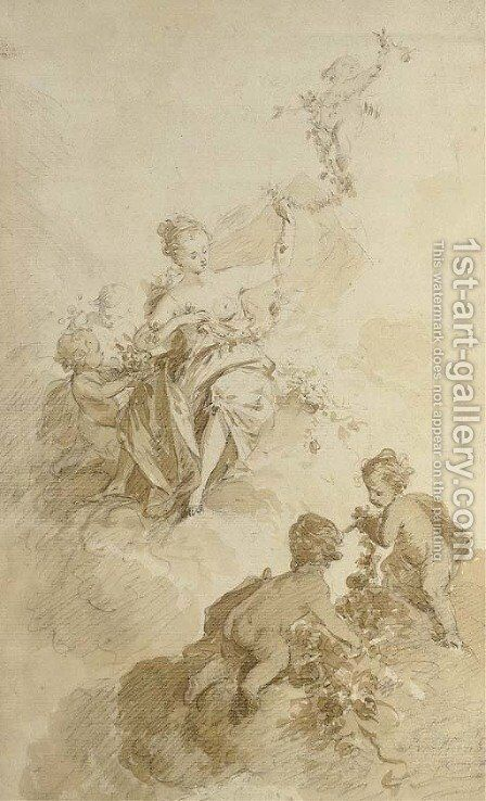 Flora seated among clouds, attended by putti by (after) Nicolas Guibal - Reproduction Oil Painting