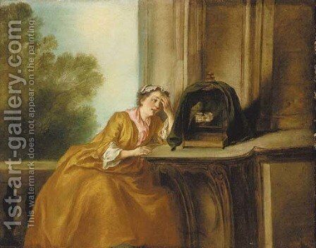 The caged bird by (after) Lancret, Nicolas - Reproduction Oil Painting