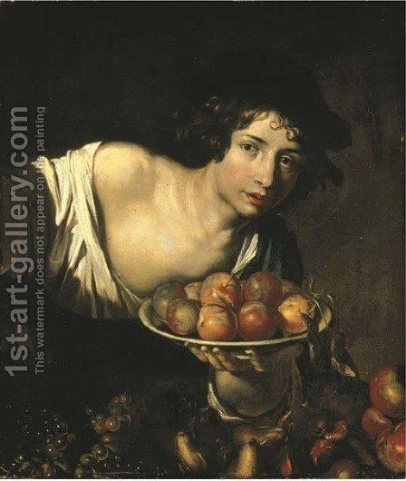 A young boy holding a plate of apples by (after) Niccolo Renieri (see Regnier, Nicolas) - Reproduction Oil Painting