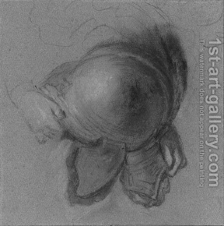 A child's hand grasping a visored helmet by (after) Nicolas Vleughels - Reproduction Oil Painting