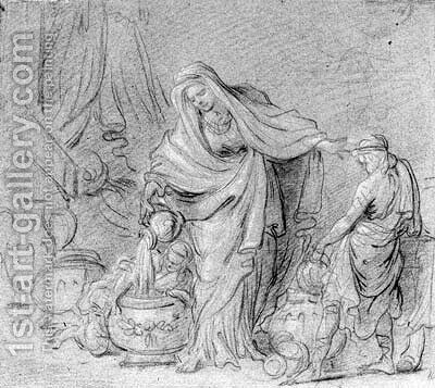 A draped woman pouring water in a basin assisted by two boys (recto); A reclining nude seen from behind (verso) by (after) Noel Halle - Reproduction Oil Painting