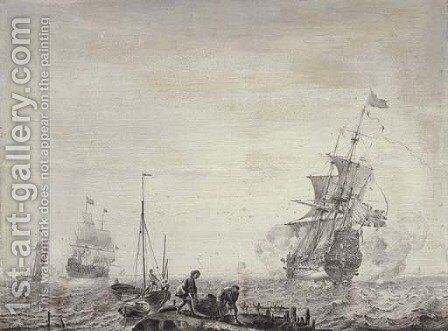 Men-o'-war and other vessels in a stiff breeze before a coast, young men carrying a basket in the foreground 'en grisaille' by (after) Olfert De Vrij - Reproduction Oil Painting