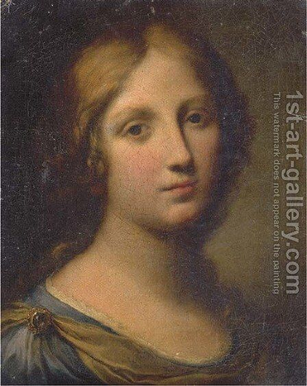 Portrait of a young woman, head and shoulders by (after) Onorio Marinari - Reproduction Oil Painting