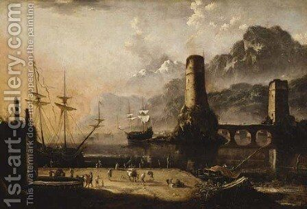 A Mediterranean harbour with stevedores on a quayside, moored ships and a bridge beyond by (after) Orazio Grevenbroeck - Reproduction Oil Painting