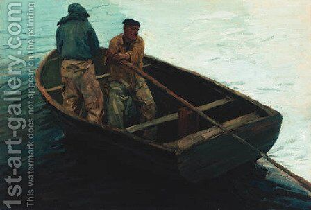 Fishermen Rowing Out by (after) Otto Wagenfeldt - Reproduction Oil Painting