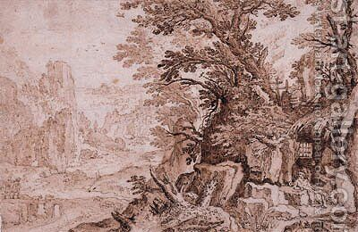 A rocky River Landscape with Saint Jerome in his Cave, a town by the sea beyond by (after) Paul Bril - Reproduction Oil Painting