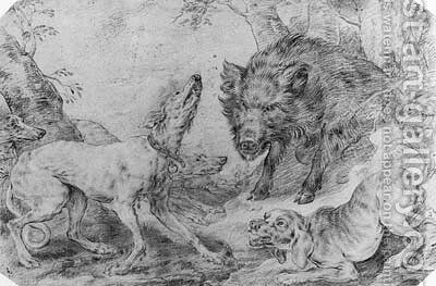A Boar surrounded by Dogs by (after) Paul De Vos - Reproduction Oil Painting