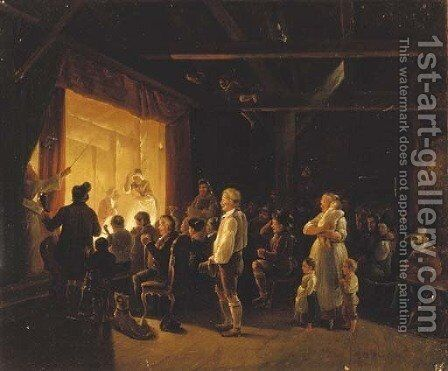 A theatrical performance by (after) Pehr Hillestrom - Reproduction Oil Painting