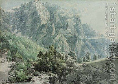 View of Glarnisch, Switzerland by (after) Peter Birmann - Reproduction Oil Painting