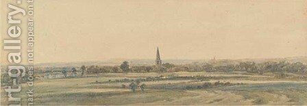 A church in an extensive landscape by (after) Peter De Wint - Reproduction Oil Painting