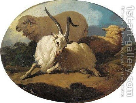 A goat and two sheep in a landscape by (after) Peter Le Cave - Reproduction Oil Painting