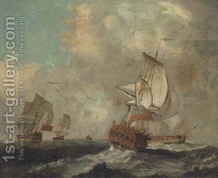 A Squadron of the Red in a swell by (after) Peter Monamy - Reproduction Oil Painting