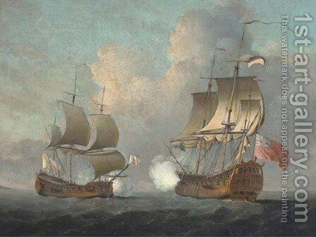 An English man-o'war opening fire on a Spanish armed ship flying Ostende colours by (after) Peter Monamy - Reproduction Oil Painting