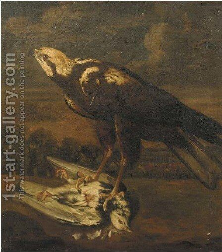 A falcon with a dead pigeon by (after) Ferdinand Phillip De Hamilton - Reproduction Oil Painting
