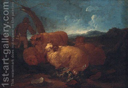 A shepherd and sheep in a landscape by (after) Philipp Peter Roos - Reproduction Oil Painting