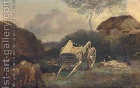 The farm yard, a sketch by (after) Philip Reinagle - Reproduction Oil Painting