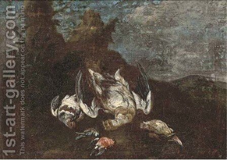 A clearing with dead game birds and song birds by (after) Ferdinand Phillip De Hamilton - Reproduction Oil Painting
