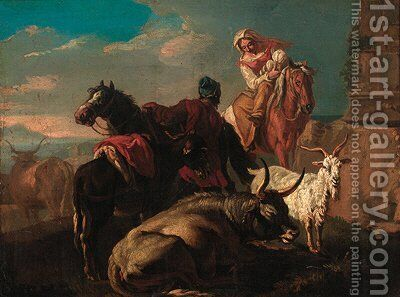 Drovers with a donkey, goat and cattle in an Italianate landscape by (after) Philipp Peter Roos - Reproduction Oil Painting