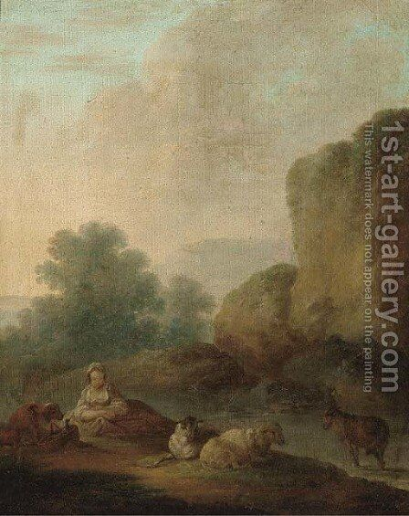 A river landscape with a shepherdess resting with her flock by (attr.to) Loutherbourg, Philip James de - Reproduction Oil Painting