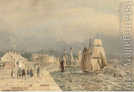 Shipping at the entrance of the port of Havre de Grace by (after) Pierre Justin Ouvrie - Reproduction Oil Painting