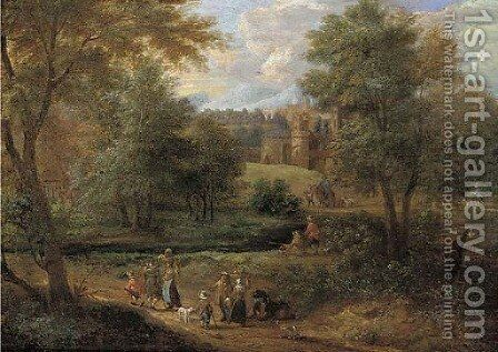 A Wooded River Landscape With Travellers On A Path And Anglers By A River, A Town Beyond by (after) Pieter Bout - Reproduction Oil Painting