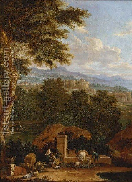 Drovers with cattle at a fountain in an Italianate landscape by (after) Pieter Bout - Reproduction Oil Painting