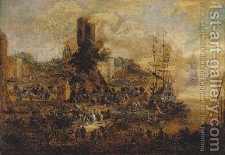 A quayside with numerous figures by (after) Pieter II Casteels - Reproduction Oil Painting