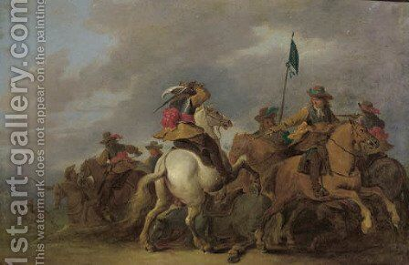A cavalry skirmish in a landscape by (after) Pieter Meulener - Reproduction Oil Painting