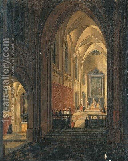 A nightime interior of a cathedral with a priest celebrating Mass by (after) Pieter The Younger Neefs - Reproduction Oil Painting
