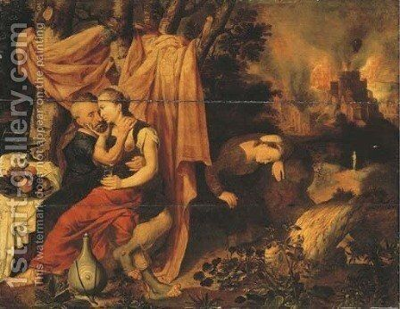 Lot and his Daughters, the Destruction of Sodom and Gomorrah beyond by (after) Pieter Pourbus - Reproduction Oil Painting