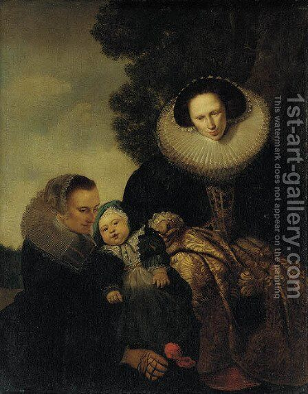 Portrait of a mother and child with a maid by (after) Pieter Claesz. Soutman - Reproduction Oil Painting