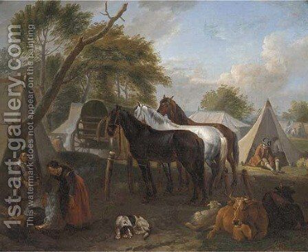 A military encampment with figures cooking in the foreground by (after) Pieter Van Bloemen - Reproduction Oil Painting