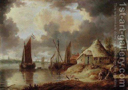 A river estuary with sailboats and peasants on a track near a thatched barn by (after) Peter Van Den Velde - Reproduction Oil Painting
