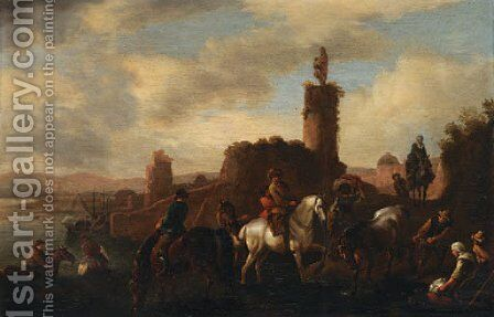 Travellers crossing a river by (after) Pieter Wouwermans Or Wouwerman - Reproduction Oil Painting