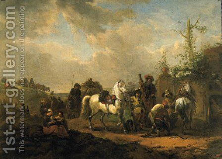 Travellers resting by a Farrier's Booth by (after) Pieter Wouwermans Or Wouwerman - Reproduction Oil Painting