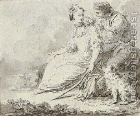 A shepherdess with a bird seller and a dog by (after) Pietro Antonio Novelli - Reproduction Oil Painting