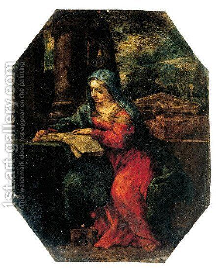 The Madonna reading by a column by (after) Cortona, Pietro da (Berrettini) - Reproduction Oil Painting