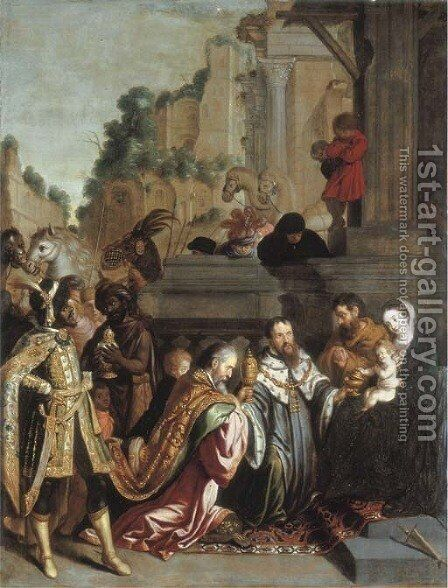 The Adoration of the Magi by (after) Pietro De Lignis - Reproduction Oil Painting