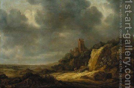 An extensive dune landscape with a ruined castle on a hill and travellers on a path by (after) Reinier Van Der Laeck - Reproduction Oil Painting
