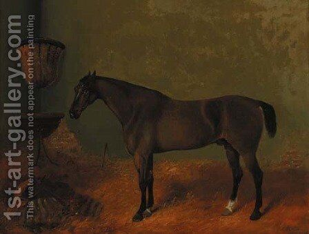 A liver chestnut hunter in a loosebox by (after) Richard Ansdell - Reproduction Oil Painting