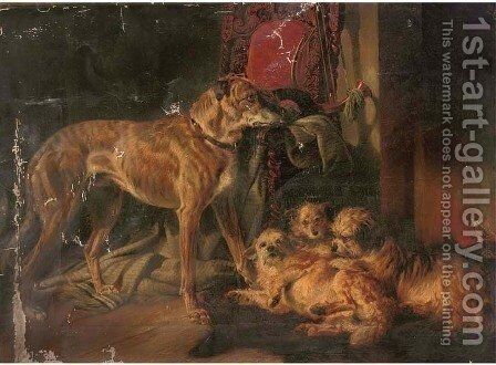 A Scottish deerhound and three dandy dinmonts by an open fire by (after) Richard Ansdell - Reproduction Oil Painting