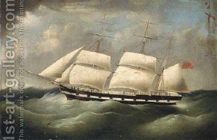 A merchantman under reduced sail in heavy seas by (after) Richard B. Spencer - Reproduction Oil Painting