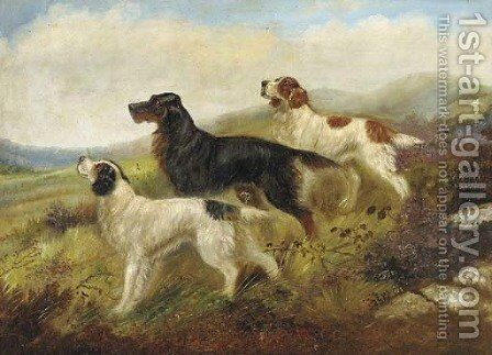 Setters on a moor by (after) Robert Cleminson - Reproduction Oil Painting