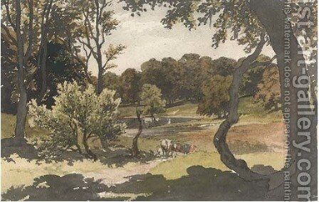 Cows grazing in a wooded landscape by (after) Robert Hills - Reproduction Oil Painting