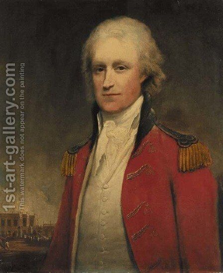 Portrait of an aide-de-camp to the Governor of Bengal, half-length, with Old Government House, Calcutta, beyond by (after) Home, Robert - Reproduction Oil Painting