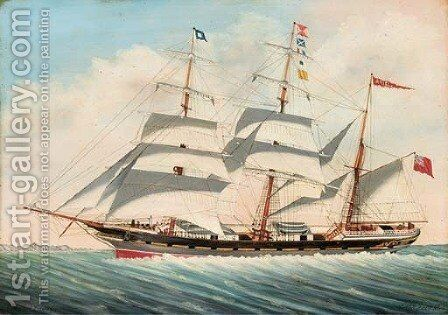 The Ariel of Liverpool in coastal waters by (after) Robert Taylor - Reproduction Oil Painting