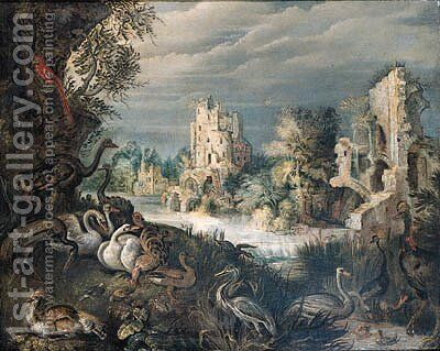Ducks, swans, a guinea-fowl, a heron, ostriches, a parrot and other birds on a river bank by (after) Roelant Savery - Reproduction Oil Painting